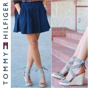 NWT!  Tommy Hilfiger Espadrille Strappy Wedges